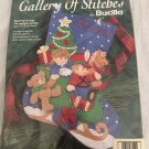BUCILLA 1997 SLED FULL OF TOYS CHRISTMAS  FELT STOCKING Applique KIT 33790 Santa
