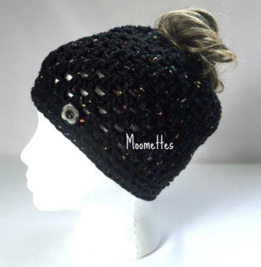 Handmade Messy Bun Hat Black Beanie Aran Red Fleck Wood Button