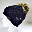 Handmade Messy Bun Hat Basic Black Beanie Wood Button Pony Tail Holder