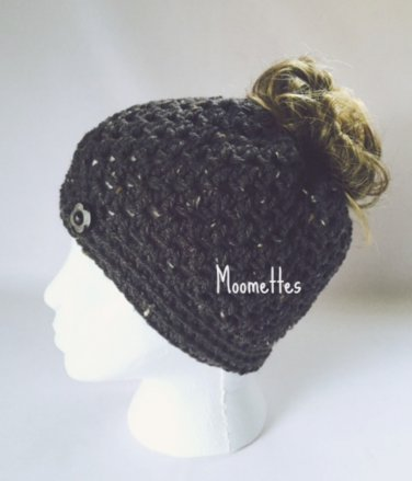 Handmade Messy Bun Hat Heather Dark Gray Beanie Wood Button Pony Tail
