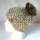 Handmade Messy Bun Hat Aran Tweed Oatmeal Beige Beanie Wood Button Pony Tail