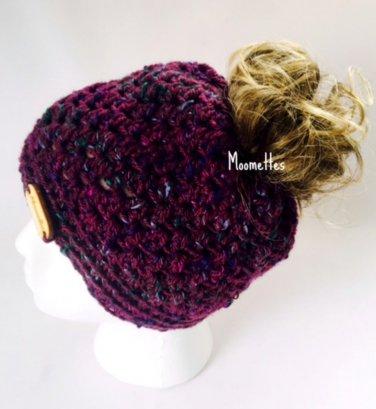 Handmade Messy Bun Hat Ponytail Tweed Purple Teal Beanie Oval Wood Button