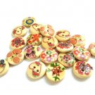 20 pcs Mixed Painted Wood Buttons Fantasy Flower Pattern 15 mm Sewing Round Button Craft Supplies