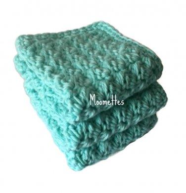 Handmade Dish Cloths Turquoise Aqua Blue Wash Cloths Cotton Kitchen Dishcloths Set of 3