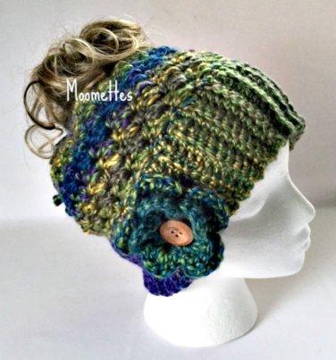 Handmade Chunky Messy Bun Hat Green Blue Ponytail Beanie Wood Button Crochet Flower