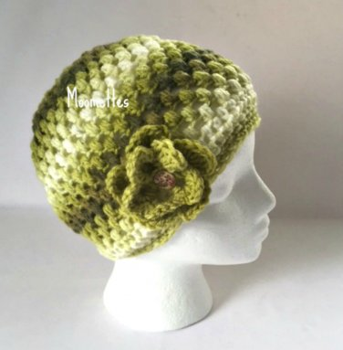 Handmade Beanie Lime Dark Green Hat Painted Wood Button Crochet Flower