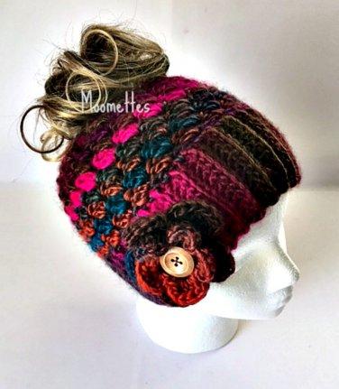 Handmade Chunky Messy Bun Hat Plum Brown Teal Ponytail Beanie Wood Button Crochet Flower