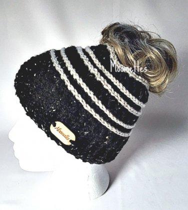 Handmade Messy Bun Black Beanie Wood Button Runner Pony Tail Hat Beige Stripe