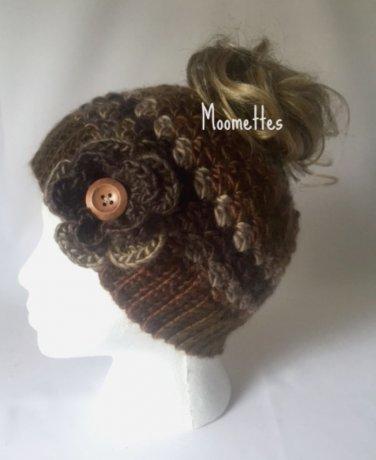 Handmade Messy Bun Hat Sand Brown Beige Beanie Wood Button Crochet Flower Pony Tail