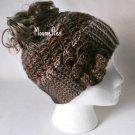 Handmade Messy Bun Brown Black Beige Beanie Wood Button Crochet Flower Ponytail Hat