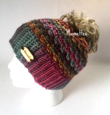 Handmade Messy Bun Beanie Colorful Runner Ponytail Hat Wood Button