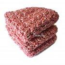 Handmade Kitchen Dish Cloths Red White Dishcloths Crochet Set of 3