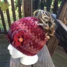Handmade Messy Bun Beanie Heather Rose Pink Red Wood Button Nordic Crochet Hat Womens