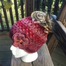 Handmade Messy Bun Beanie Red Heather Rose Pink Cranberry Wood Button Nordic Crochet Hat Womens