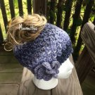 Handmade Messy Bun Hat Gray Black Wood Button Nordic Crochet Hat Womens