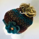 Handmade Messy Bun Hat Teal Blue Brown Beanie Wood Button Ponytail Flower