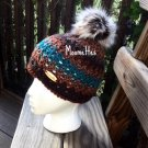 Handmade Faux Fur Pom Pom Hat Bronze Teal Black Brown Beige Nordic Beanie Wood Button Crochet