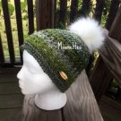 Handmade Faux Fur Pom Pom Hat Green Gray Teal Nordic Beanie Wood Button Crochet