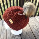 Handmade Faux Fur Pom Pom Hat Copper Chili Rust Bronze Nordic Beanie Wood Button Crochet