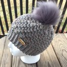 Handmade Faux Fur Pom Pom Hat Gray Grey Tweed Fisherman Nordic Beanie Wood Button Crochet