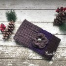 Handmade Messy Bun Ear Warmer Beanie Violet Purple Gray Ponytail Nordic Hat Crochet
