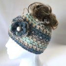 Handmade Messy Bun Beanie Alpaca Fair Isle Ice Blue Gray Silver Button Nordic Hat Crochet Flower
