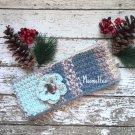 Handmade Fair Isle Ear Warmer Beanie Ice Blue Gray Ponytail Alpaca Nordic Messy Bun Hat Crochet