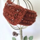 Handmade Ear Warmer Wrap Crochet Copper Bronze Earwarmer Headband Messy Bun Ponytail Head Band