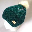 Handmade Slouchy Beanie Faux Fur Pom Pom Hat Teal Puff Stitch Wood Button Crochet