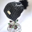 Handmade Slouchy Beanie Faux Fur Pom Pom Hat Gray Grey Alpaca Puff Stitch Wood Button Crochet