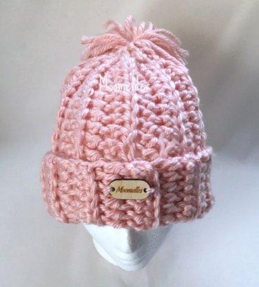 Olympics Handmade Beanie Rib Chunky Pom Pom Snowboard Hat Pink Wood Button  Crochet 605215cbb4c