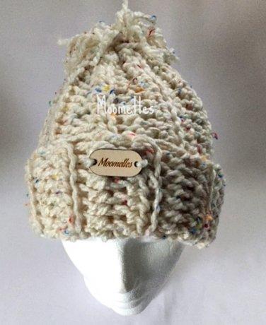 Olympics Handmade Beanie Rib Chunky Pom Pom Snowboard Hat Winter Tweed  White Wood Button Crochet c64b545b896