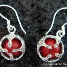 925 Silver Red Chakra Chime Ball Earrings CBE-143-KT