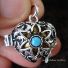 925 Silver & Turquoise Heart Harmony Ball HB-286-PS