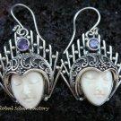925 Silver Balinese Carved Bone Goddess Earrings GDE-183-PS