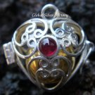 925 Silver Garnet Heart Harmony Chime Ball Pendant HB-163-KT