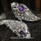925 Silver Amethyst Double Snake Head Bangle SBB-206-KA