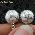 925 Silver  White Chime Ball Earrings CBE-133-KA