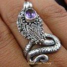925 Silver & Oval Cut Amethyst Snake Ring RI-222-KT
