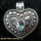 Sterling Silver Blue Topaz Heart Locket Pendant LP-124-KT