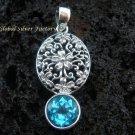 925 Silver Bali Design Blue Topaz Pendant SP-380-KT