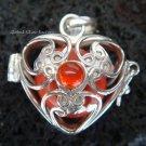 925 Silver Carnelian Heart Harmony Ball Pendant HB-233d-KT