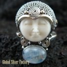 925 Silver Rainbow Moonstone Sajen Goddess Ring GDR-661-KT