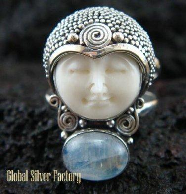 925 Silver Rainbow Moonstone Sajen Goddess Ring GDR-661-KT