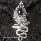 925 Silver Black Onyx Snake Ring RI-268-NY