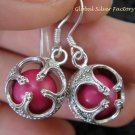 925 Silver Pink Chakra Chime Ball Earrings CBE-147-KT