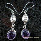 Leaf Design & Amethyst Dangle Earrings ER-451-NY