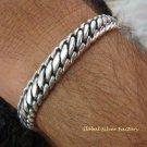 Sterling Silver Curb Design Men's Bracelet MJ-119-PS