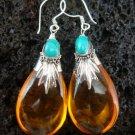 Silver & Synthetic Amber Earrings SJ-180-KT