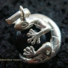 925 Silver Gecko Black Chime Ball Pendant CH-315-KT